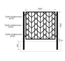 Забор из профильной трубы Арт. тп-14